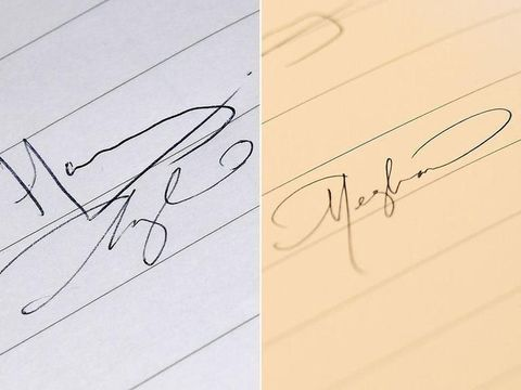 Kiri: tanda tangan lama, Kanan: tanda tangan baru Meghan Markle