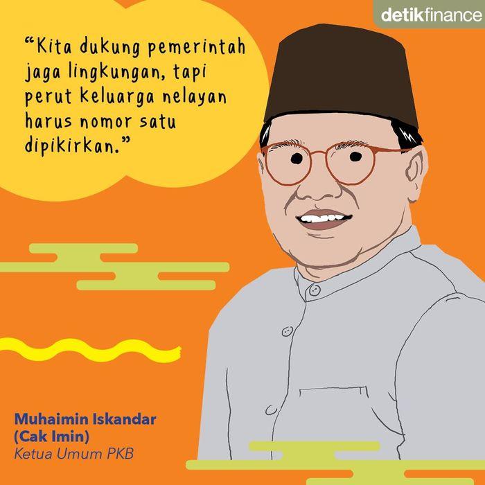 Ketum PKB Muhaimin Iskandar atau yang akrab disapa Cak Imin saat mempersoalkan kebijakan Susi soal larangan penggunaan cantrang. Foto: Luthfy Syahban