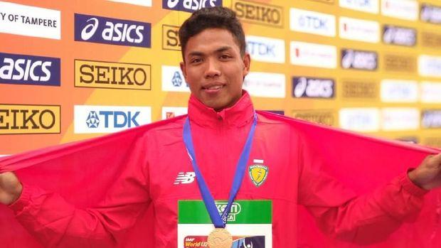 Lalu Muhammad Zohri saat meraih medali emas di Kejuaraan Atletik Junior Dunia 2018 di Finlandia. (