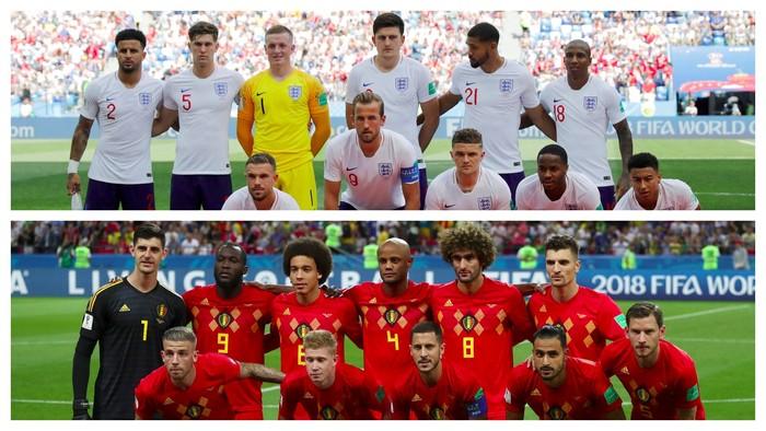 Indeks massa tubuh (IMT) skuat timnas Inggris dan Belgia sama-sama berada di angka normal, yakni 23,5 kg/m2 dan 23,1 kg/m2. (Foto: Reuters)