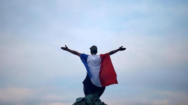 Perayaan kemenangan Prancis di final Piala Dunia 2018.