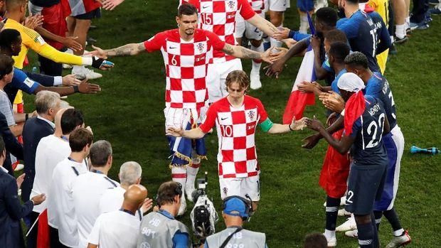 Timnas Kroasia kalah 2-4 dari Prancis di final Piala Dunia 2018. (