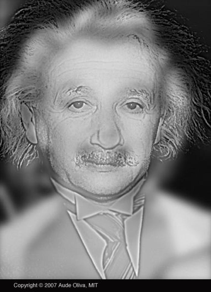Orang dengan penglihatan normal akan melihat sosok Albert Einstein. Tapi bagi yang rabun artis Marilyn Monroe yang tampak. (Foto: Massachusetts Institute of Technology)