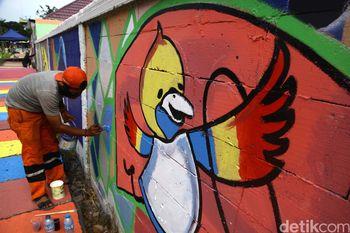 Mural Asian Games di Depan Wisma Atlet
