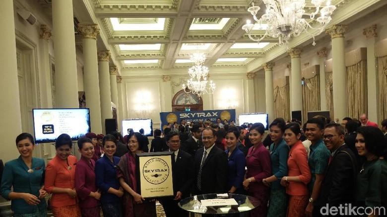 Foto: Garuda Indonesia mendapatkan penghargaan Worlds Best Cabin Crew (Baban/detikTravel)