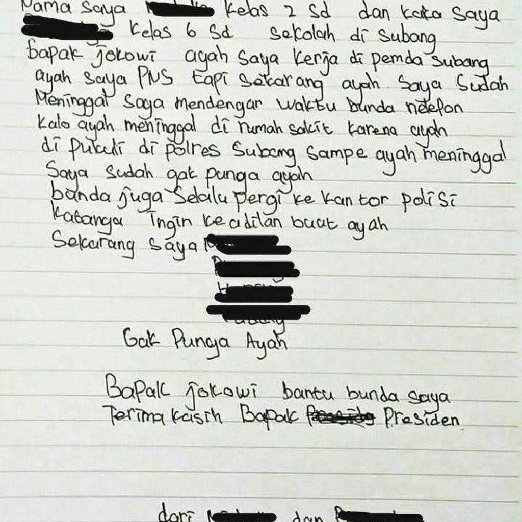 Sepucuk Surat untuk Jokowi Ungkap Kematian Tahanan di Subang