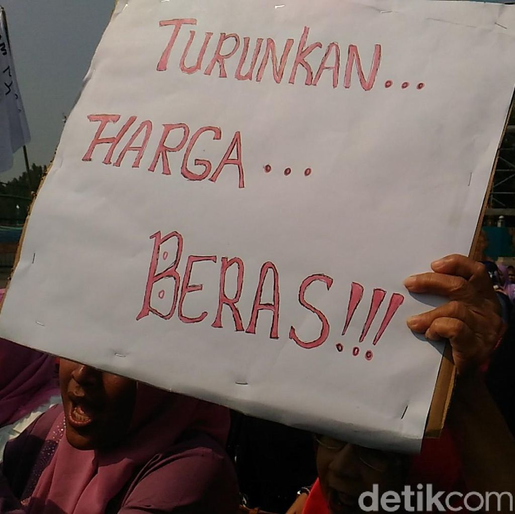 Demo Sembako Murah, Emak-emak Bawa Peralatan Dapur di Depan Istana
