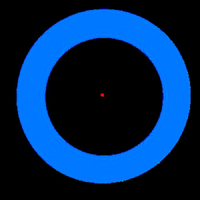 Fokuskan penglihatan pada titik merah selama beberapa. Perlahan lingkaran biru disekitarnya akan menghilang. (Foto: Internet)