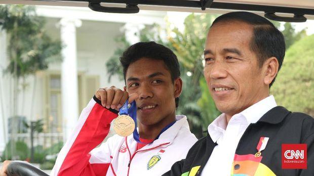 Lalu Muhammad Zohri diterima Presiden RI Joko Widodo di Istana Presiden. (
