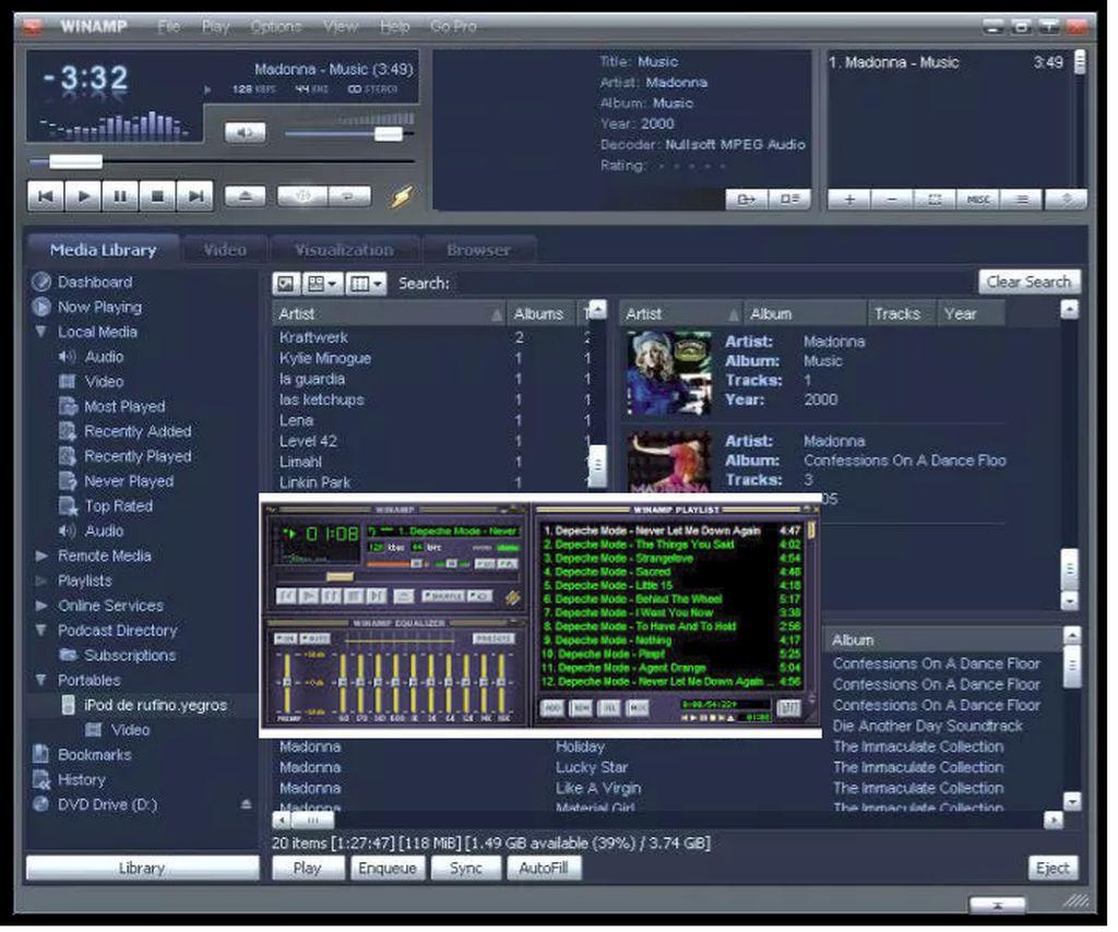 WinAmp: Siapapun orangnya pasti tidak asing dengan yang namanya WinAmp. Mungkin ini adalah aplikasi pemutar musik yang paling melegenda di komputer. Pengguna juga bisa mengganti tampilan WinAmp dengan berbagai skin yang tersedia. Foto: istimewa