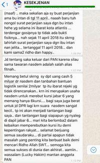 Screenshot pengakuan Lucky Hakim ditransfer Rp 5 miliar ke NasDem.