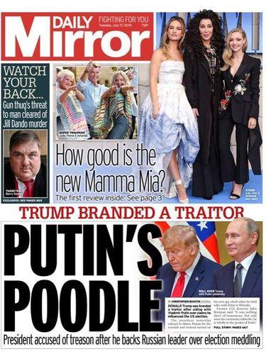 Halaman depan Daily Mirror yang menyebut Trump sebagai 'pudelnya Putin'