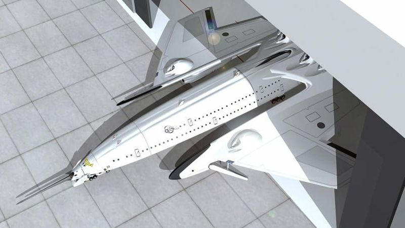 Perancangnya adalah Oscar Vinals dari Barcelona, Spanyol. Pertama, Flash Falcon yang dirancang untuk mencapai kecepatan tertinggi 3.700 km/jam dan terbang dari London ke New York hanya dalam 2,5 jam (Oscar Vinals/CNN Travel)