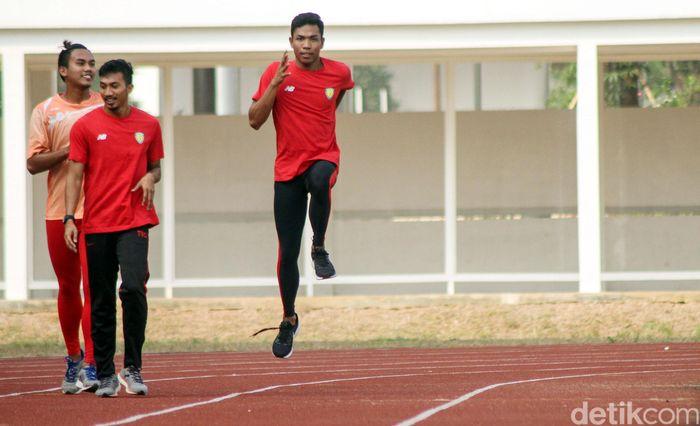 Zohri menjalani latihan di Stadion Madya, GBK, Jakarta, Kamis (19/7/2018).