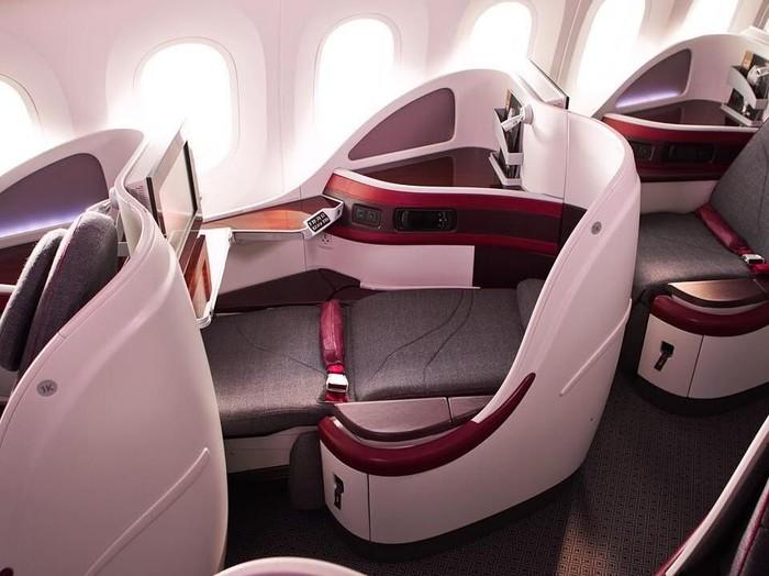 Kabin kelas bisnis Qatar Airways. (Foto: Dok. Qatar Airways)