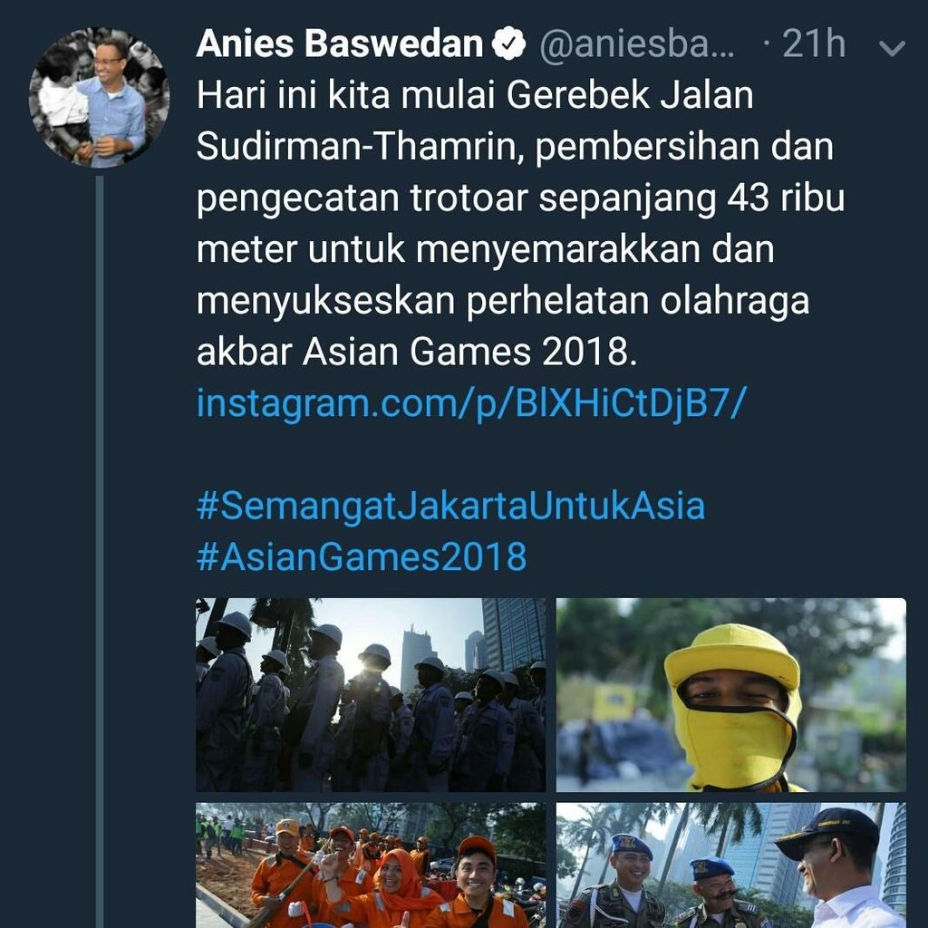 Ramai Dibahas, Twit Anies Trotoar 43 Ribu Meter Dikoreksi