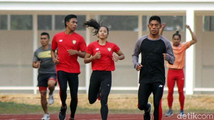 Lalu M. Zohri berlatih di Stadion Madya, kompleks GBK, Senayan, Jakarta. (Rifkianto Nugroho/detikSport)