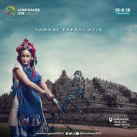 Iklan Kampanye Asian Games yang menampilkan busana tenun Toraja karya Mel Ahyar.