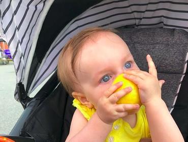 Wah, anak yang satu ini rupanya doyan banget, Bun, makan lemon. (Foto: Instagram/@oriiginals)
