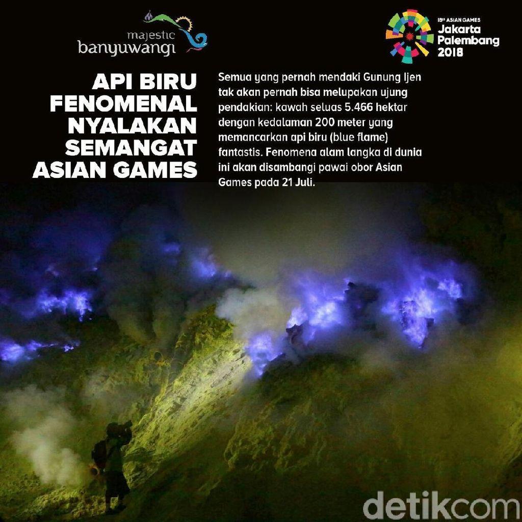 Minggu Dini Hari Obor Asian Games Dibawa ke Puncak Ijen