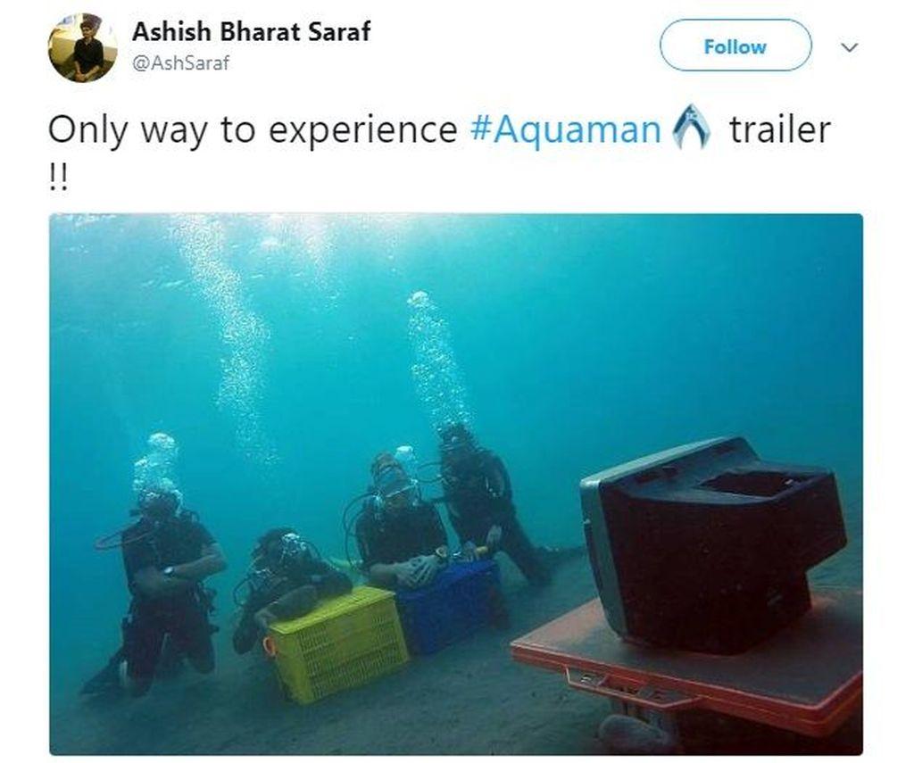 Begini cara yang betul untuk menonton trailer film Aquaman. Foto: Istimewa