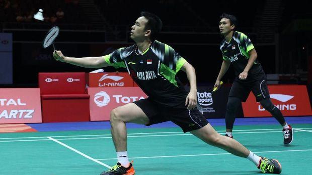 Mohammad Ahsan/Hendra Setiawan menelan kekalahan kelima dari Marcus Fernaldi Gideon/Kevin Sanjaya Sukamuljo di Hong Kong Terbuka 2018.