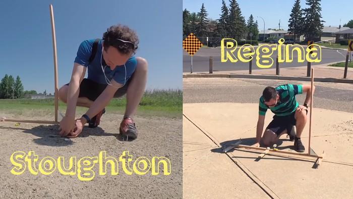Setelah sampai di lokasi tujuan Kurtis pun memasang tongkat kayunya lalu meminta bantuan seorang teman di kota Regina untuk melakukan penyesuaian. (Foto: Youtube/Kurtis Baute)
