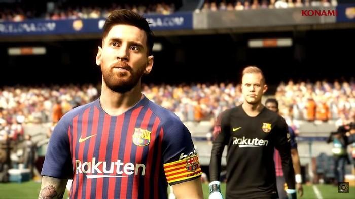 Lionel Messi dan Marc-Andre ter Stegen dalam trailer PES 2019. Foto: YouTube/officialpes