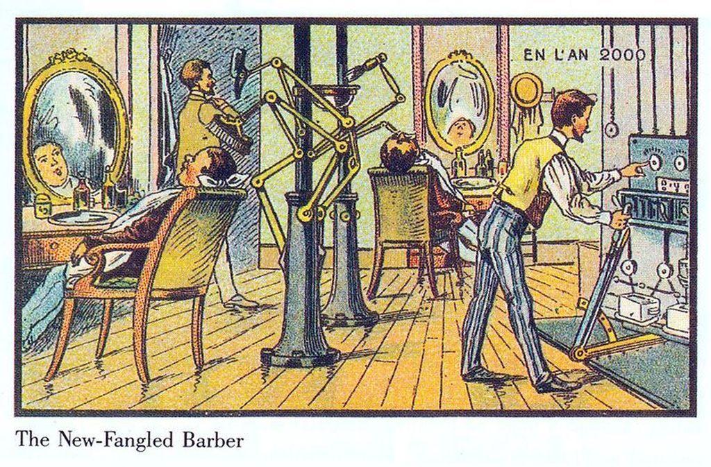 Ilustrasi ini menggambarkan tempat cukur rambut yang sepenuhnya dijalankan oleh robot. Teknologi seperti ini belum ada sekarang, dan mungkin tidak akan ada karena risiko keselamatan yang tinggi. (Foto: Wikimedia)
