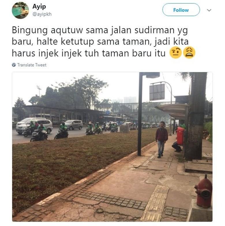 Netizen bingung apakah area rumput yang menghalangi halte harus diinjak untuk melintas atau tidak. Foto: Twitter/ayipkh