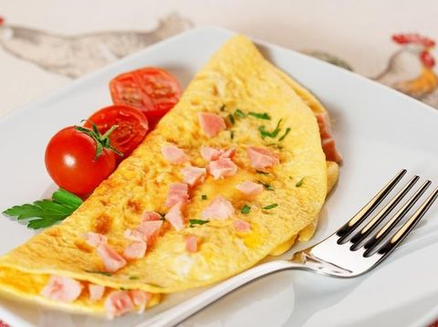 Close up of Omelet with Ham and Cheese