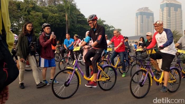 Sandiaga Uno, apa kabar dengan gerakan Jumat bersepeda? Foto: Fida/detikcom