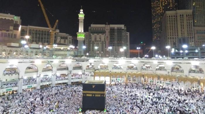 Gerhana bulan total di sebagian belahan bumi juga terjadi di langit Kota Mekah, Arab Saudi. (Foto: Media Center Haji 2018)