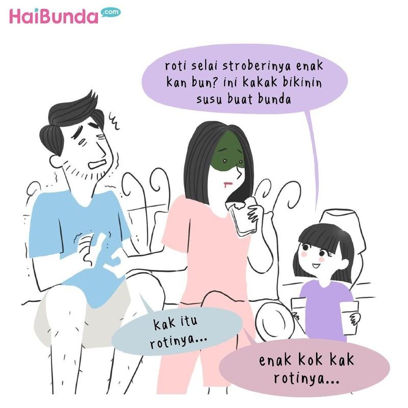 Hal baik yang dilakukan kakak di komik ini bikin bunda haru. Buat Bunda, hal apa tentang anak yang bikin haru? Share yuk di kolom komentar.