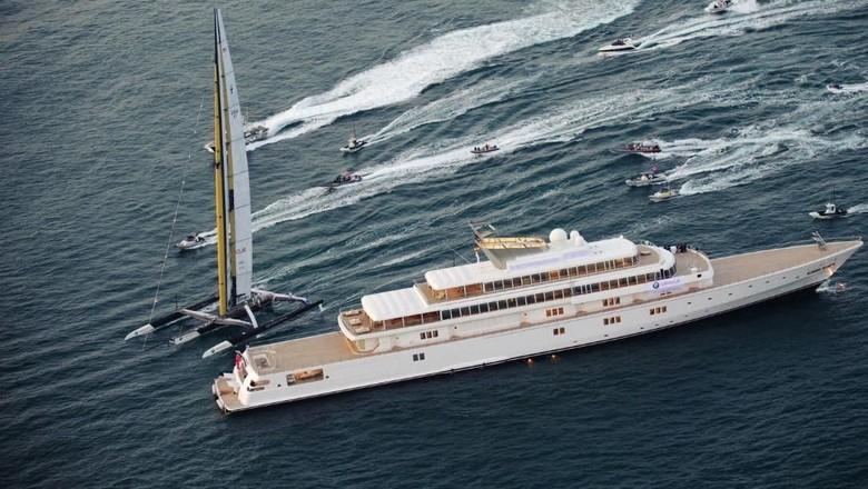 Ilustrasi super yacht Rising Sun milik David Geffen (CNN Sport)