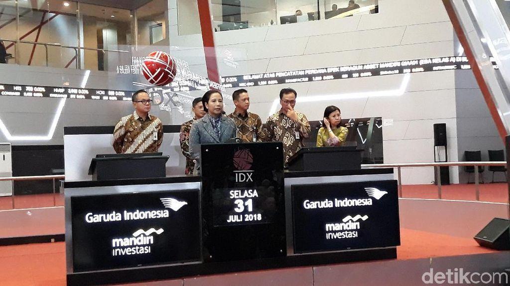 Rini Dampingi Garuda Catatkan KIK-EBA Rp 2 Triliun di Bursa
