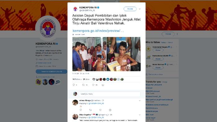 Atlet tinju amatir Bali, Valentinus Nahak terpaksa tidak bisa mengikuti Pelatnas untuk persiapan Asian Games 2018 lantaran harus berjuang melawan penyakit kanker kelenjar getah bening/Foto: Twitter/KEMENPORA_RI
