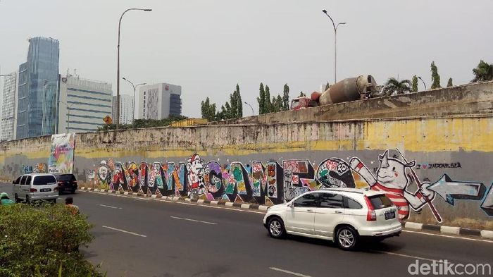 Mural Asian Games 2018 di salah satu jalan Jakarta (Peti/detikcom)