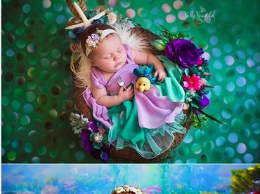 Saat bayi, si Ariel kecil dipotret dalam kondisi tertidur. Tapi kini, dia sudah bisa tersenyum sumringah. (Foto: Instagram/ @bellybeautifulportrait)