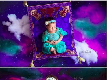 Sejak bayi sampai Putri Jasmine umur 1 tahun, Aladdin belum datang juga nih, he-he-he. (Foto: Instagram/ @bellybeautifulportrait)