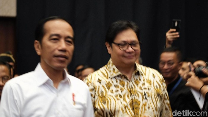 Foto: Joko Widodo dan Airlangga Hartarto (Andhika Prasetia/detikcom)