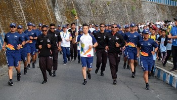 Pawai Obor Asian Games di Sumatera Utara