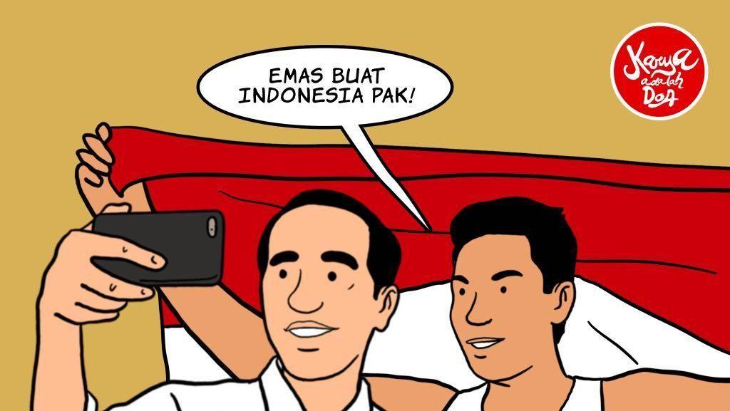 Jokowi Asyik Selfie Bareng Lalu Muhammad Zohri di Komik Ini