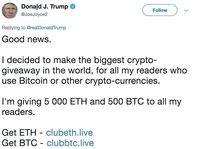 Twitter Donald Trump Dicatut Penipu Bitcoin