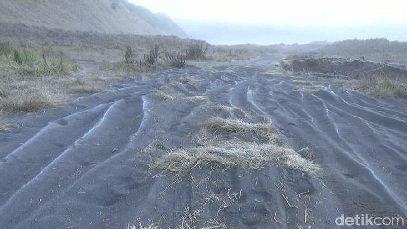 Tepat tadi pagi, suhu di Kaldera Bromo jatuh hingga 2 derajat Celcius. Saking dinginnya sampai muncul embun es (M Rofiq/detikTravel)