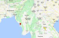 Pulau Ramree yang berada di sebelah barat pesisir pantai Myanmar (Google Maps)