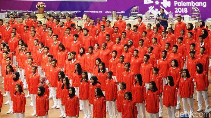 Kontingen Indonesia ke Asian Games 2018 dikukuhkan di Istora GBK. (Grandyos Zafna/edtikSport)