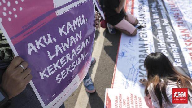 Salah satu aksi damai menolak aksi kekerasan seksual.