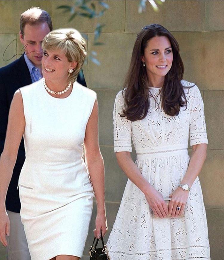 Netizen memang kreatif banget ya, menghasilkan editan foto seolah-olah Putri Diana bertemu menuantu-menantunya yang cantik. Seperti foto ini, foto Putri Diana disandingkan dengan foto Kate Middleton. Keduanya kompak memakai baju putih dan menyunggingkan senyum. (Foto: Instagram @dianaprincesadegales)