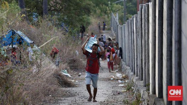 Para pengungsi gempa Lombok terkonsentrasi di Lombok Utara. Diperkirakan 75 persen rumah rusak di kabupaten tersebut.